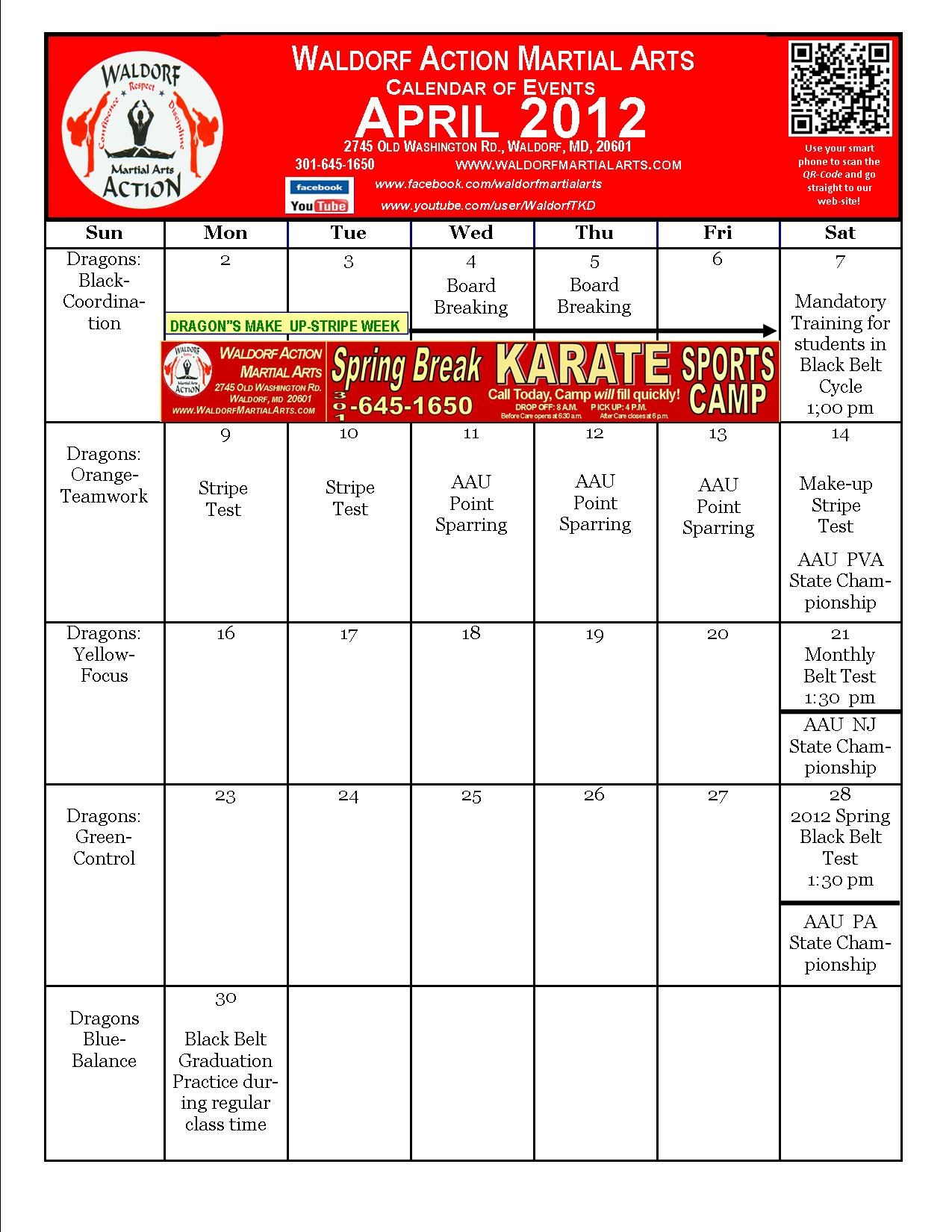 Calendar April Events : Wama april calendar of events waldorf martial arts