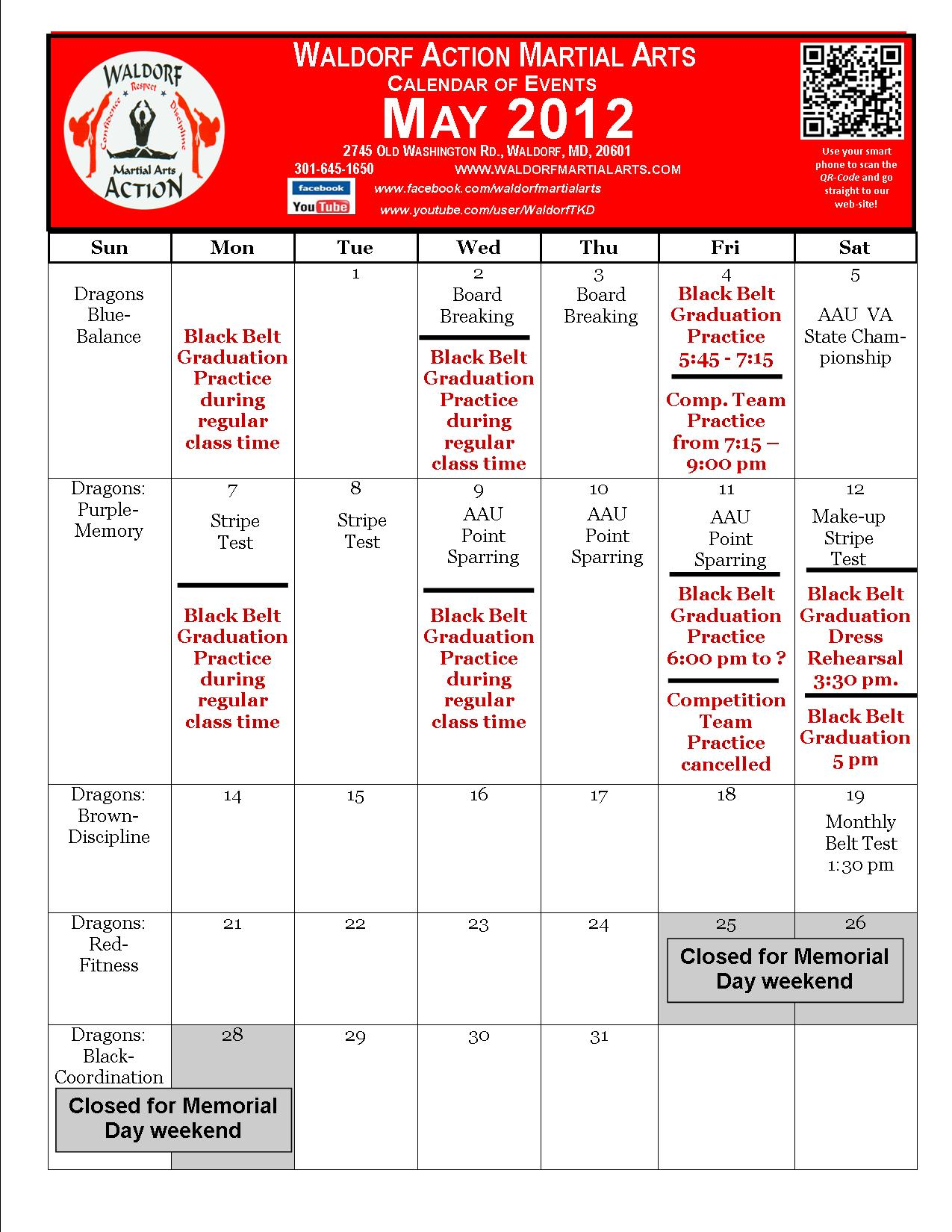 May Calendar Of Events : Calendar events waldorf martial arts part