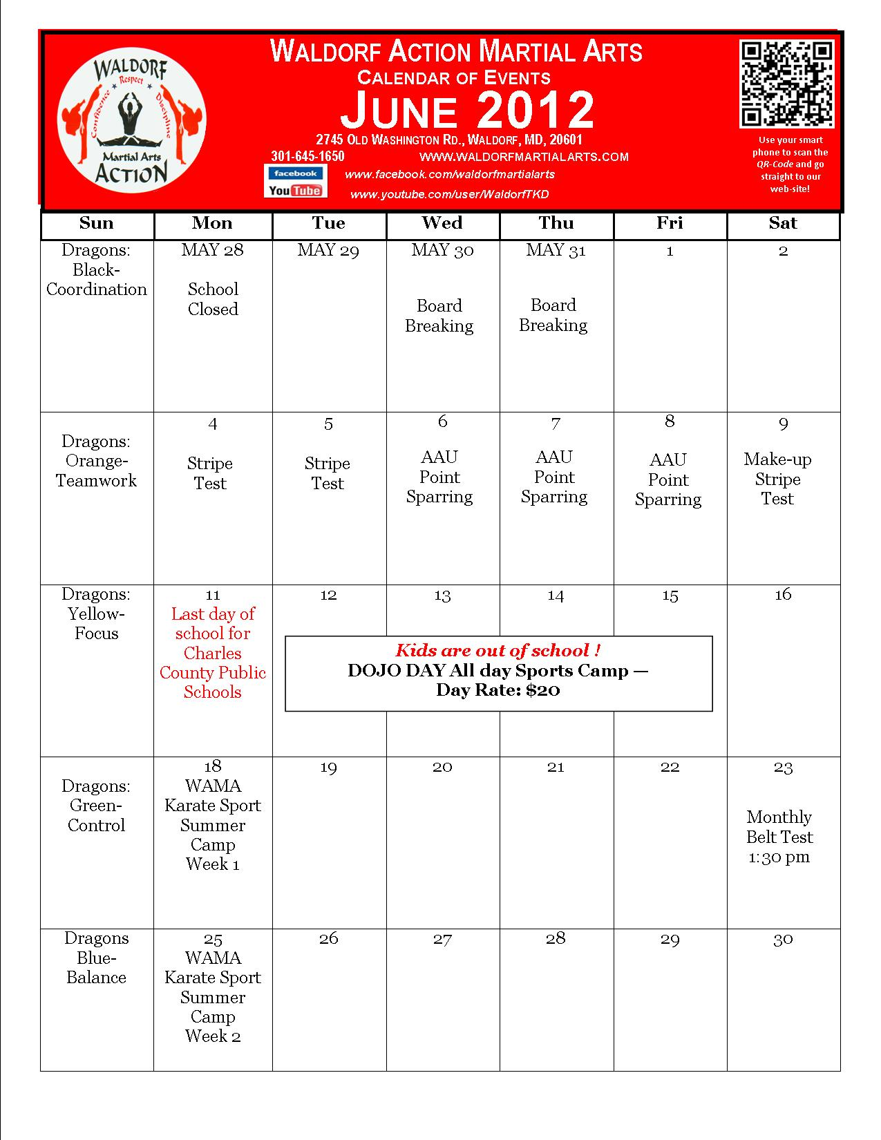 June Calendar Events : Martial arts waldorf