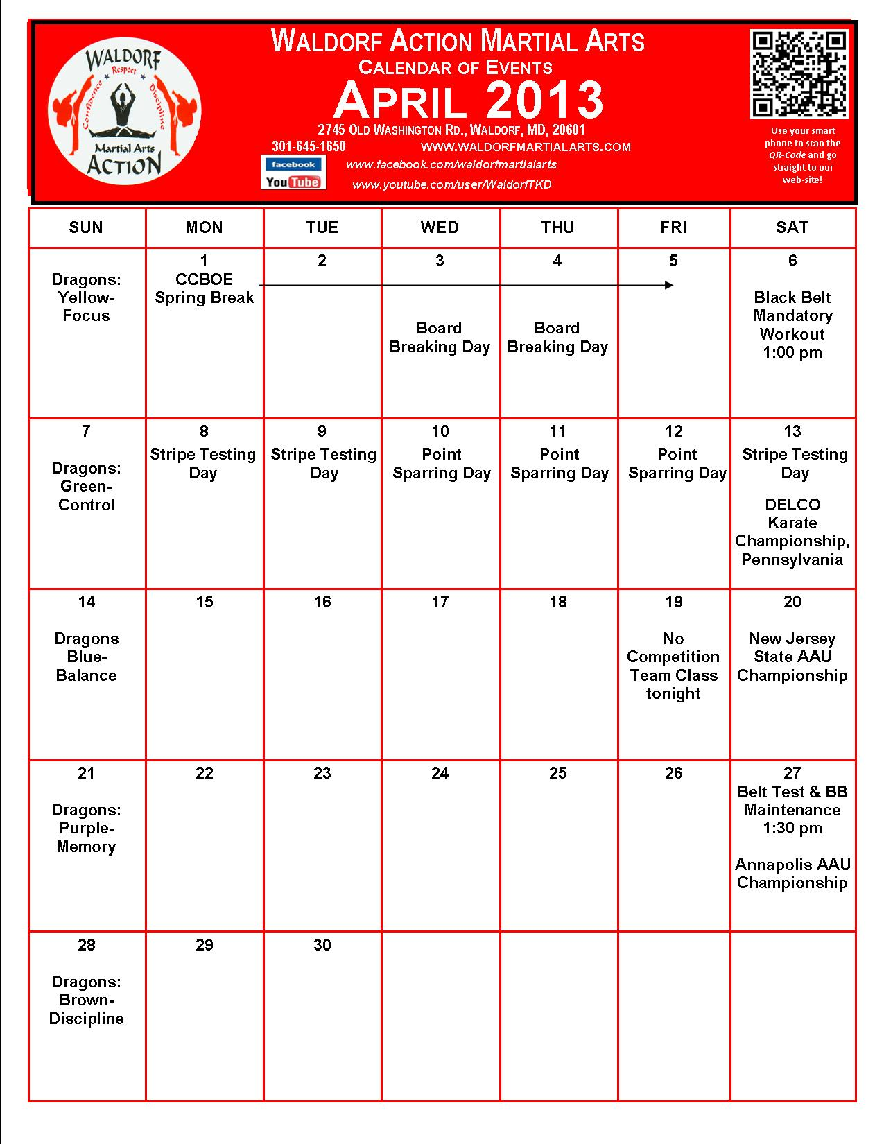 Calendar April Events : Martial arts waldorf