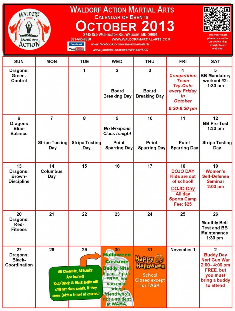 Calendar Monthly Events : Wama monthly calendar of events waldorf martial arts