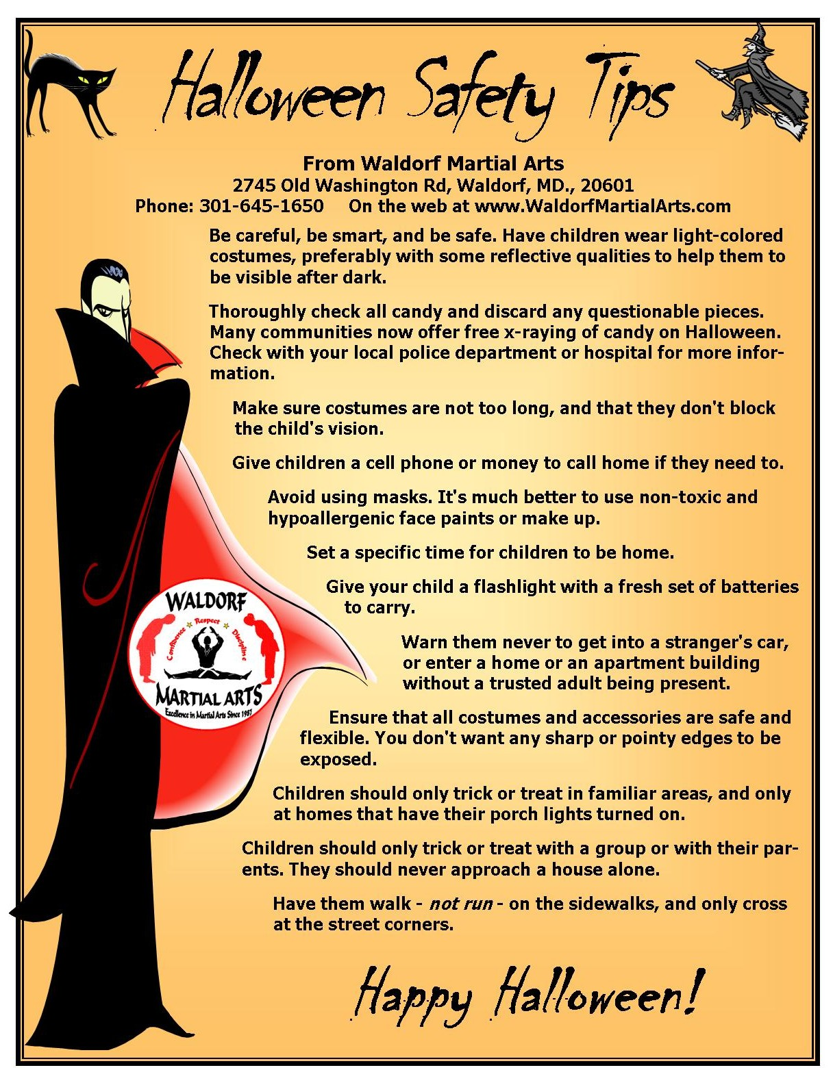 2014 Halloween Safety Rules and guest pass flyer