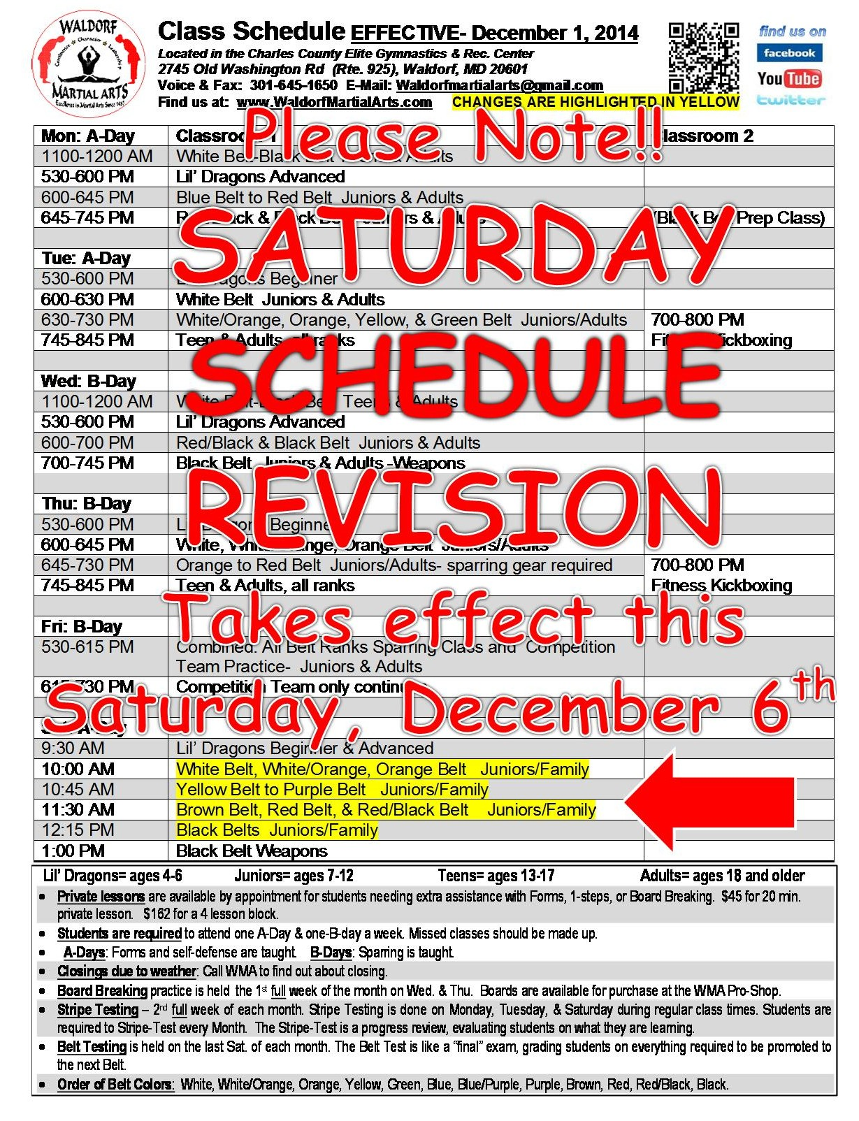 2014-15 New Saturday schedule notice for internet distribution