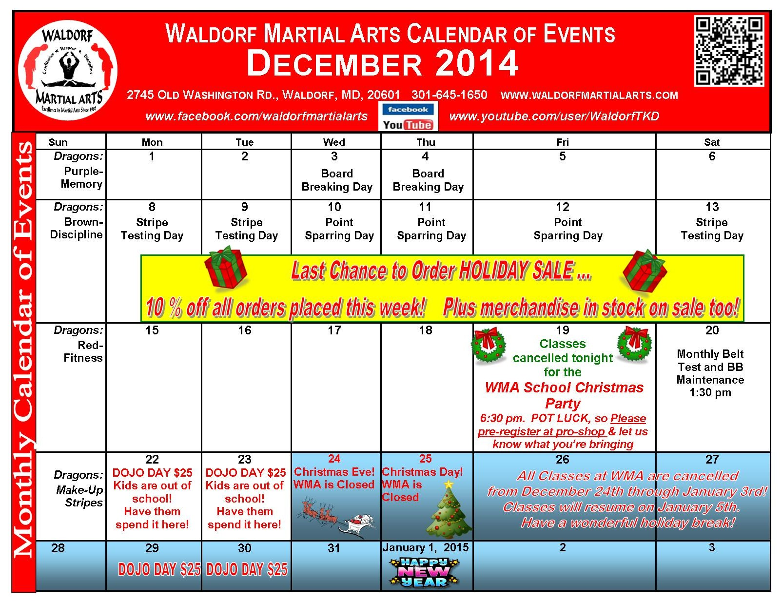December 2014  Calendar of Events