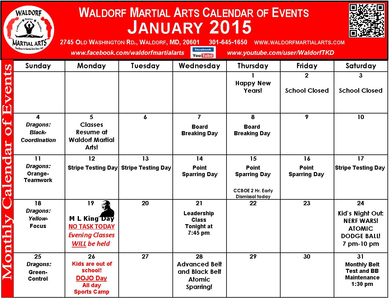 January 2015 Calendar of Events