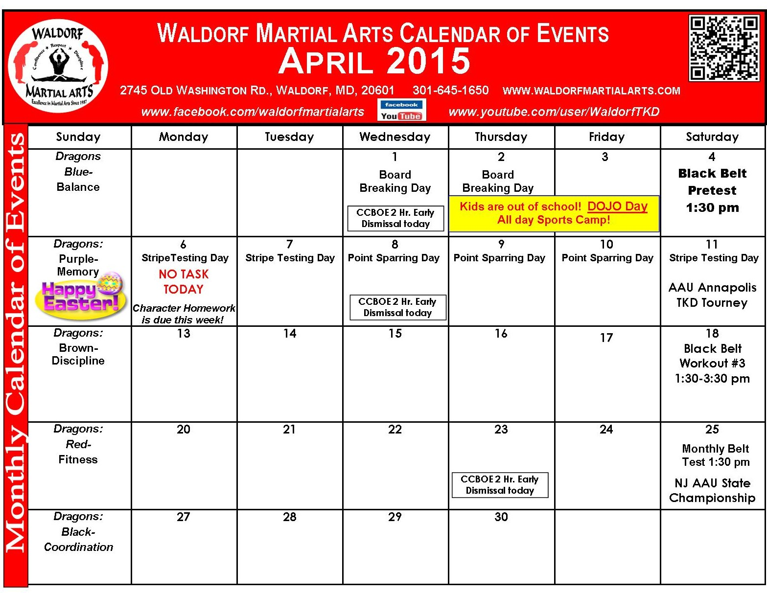April 2015 Calendar of Events