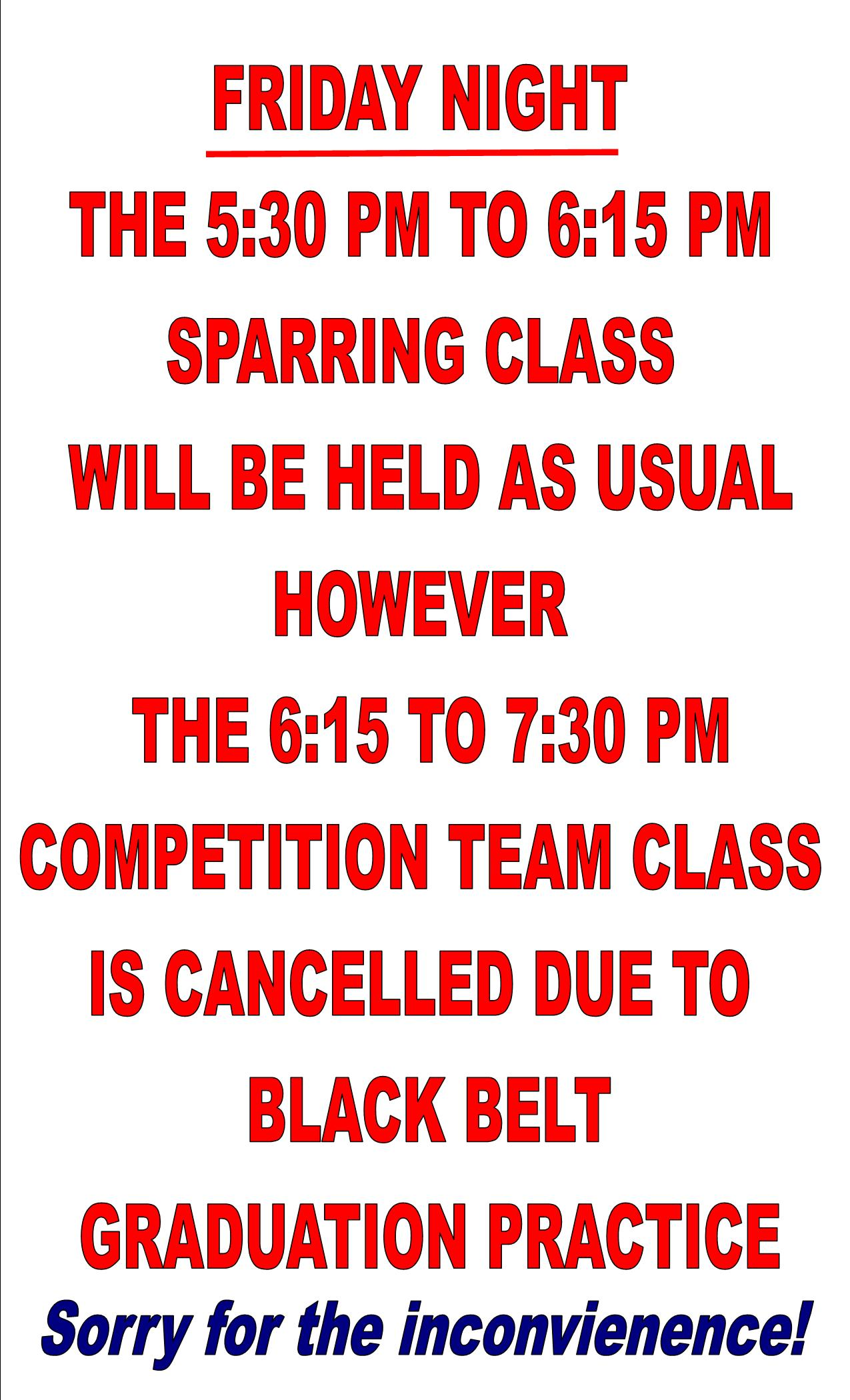 Comp team class cancelled for BB grad practice