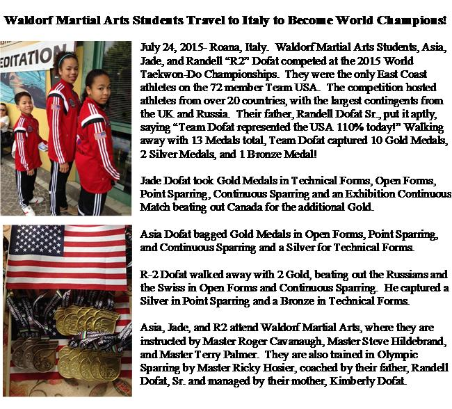 Press release of Jade n Asia WTF World Champss