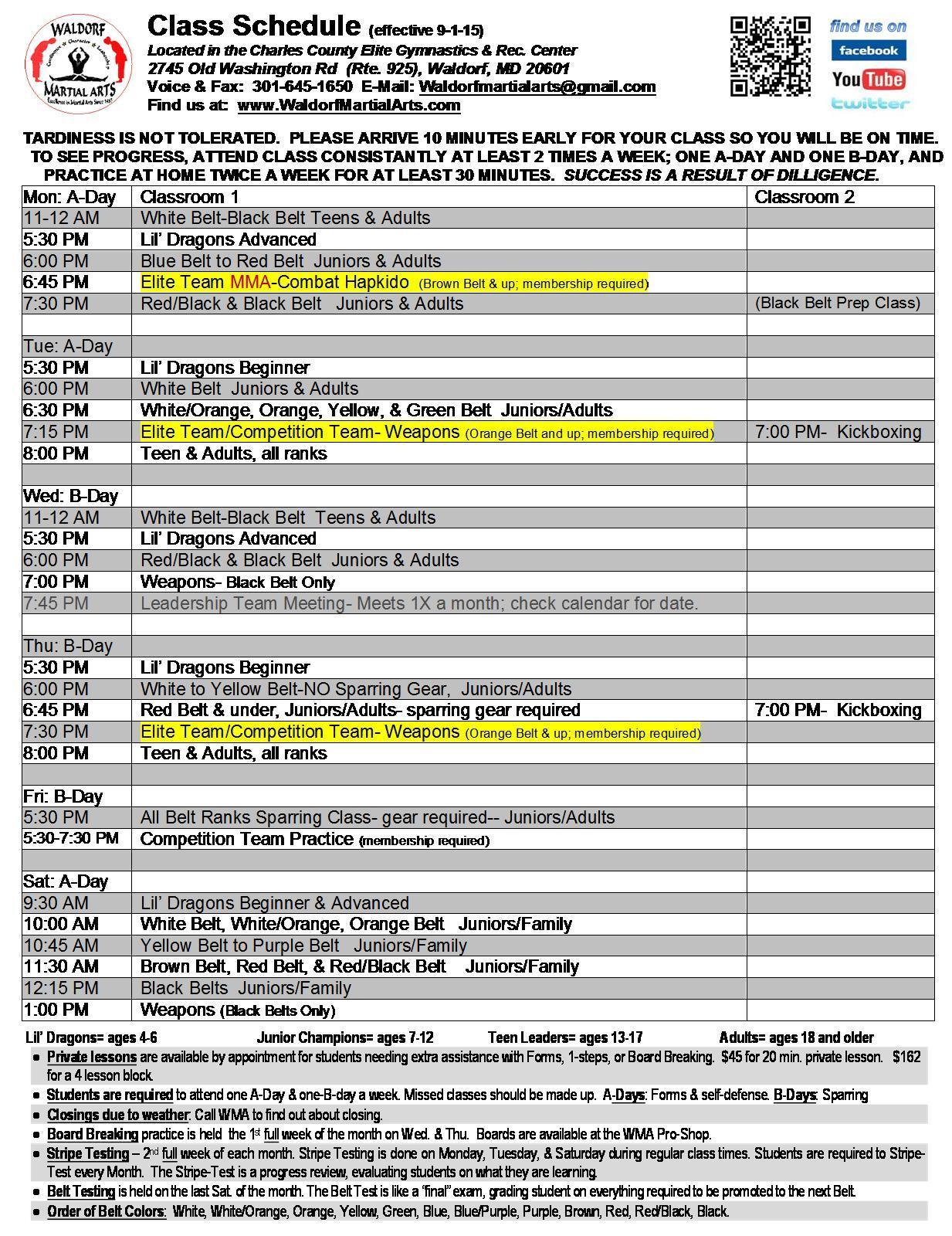 2015 WMA Fall-Winter Class Schedule