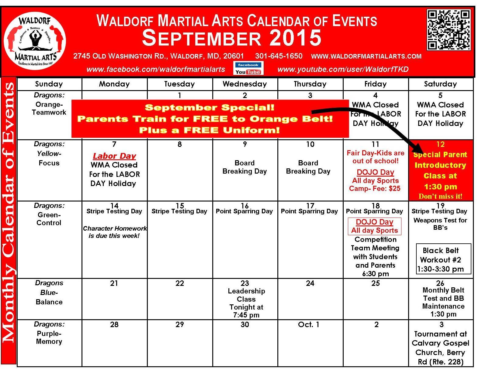 Sept 2015 Calendar of Events