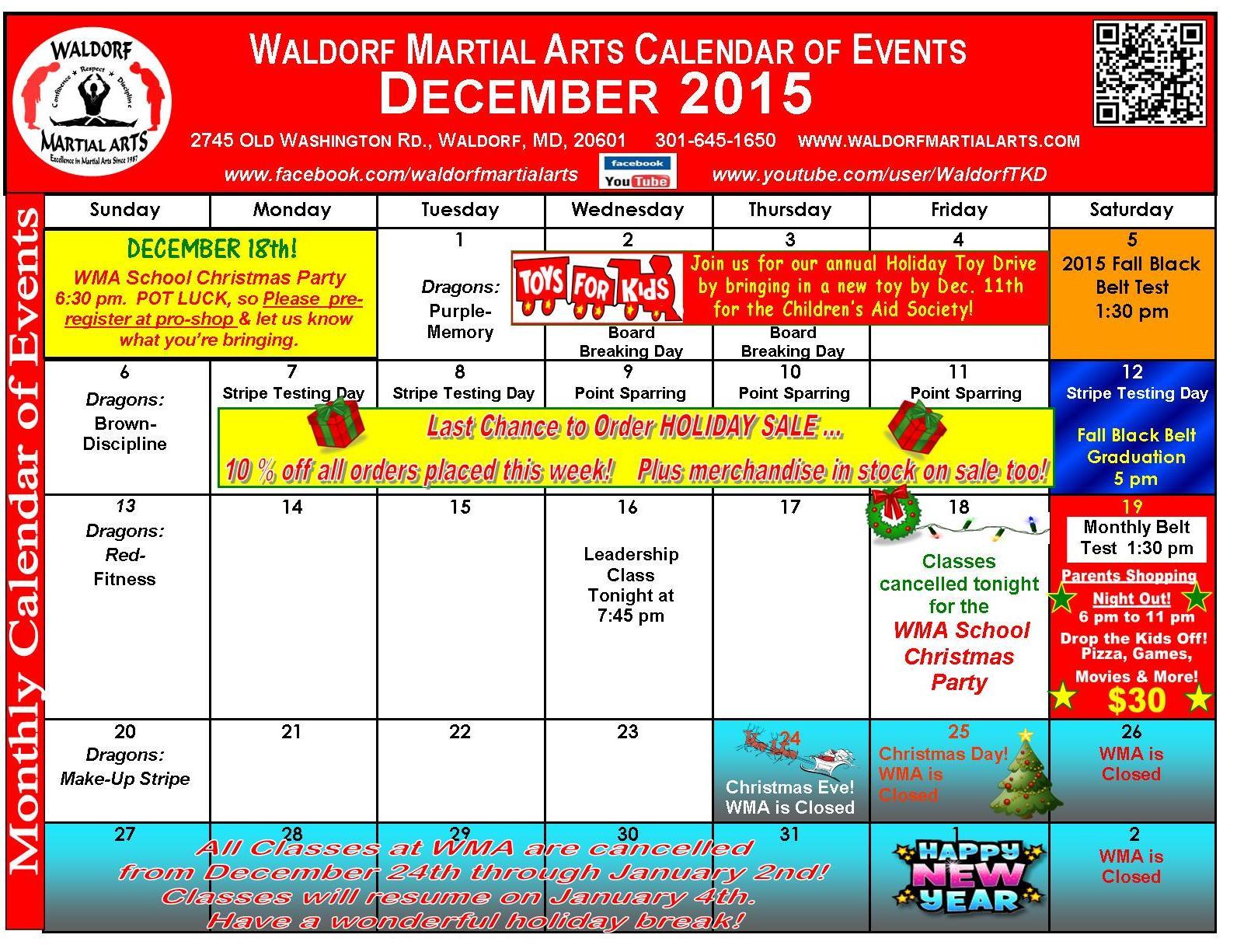 December 2015 Calendar of Events