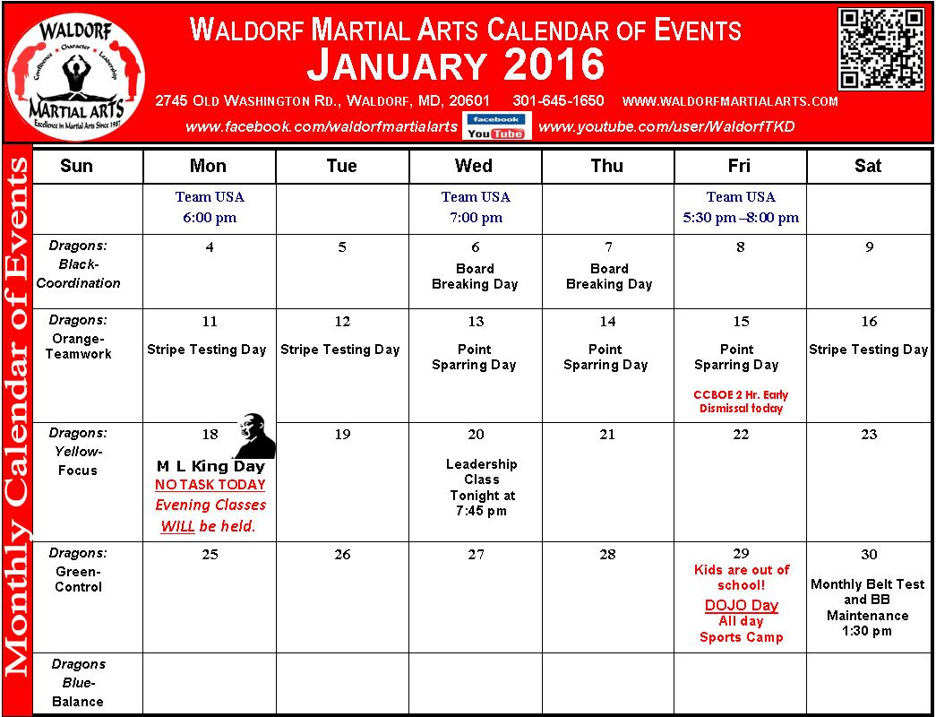 January 2016 Calendar of Events