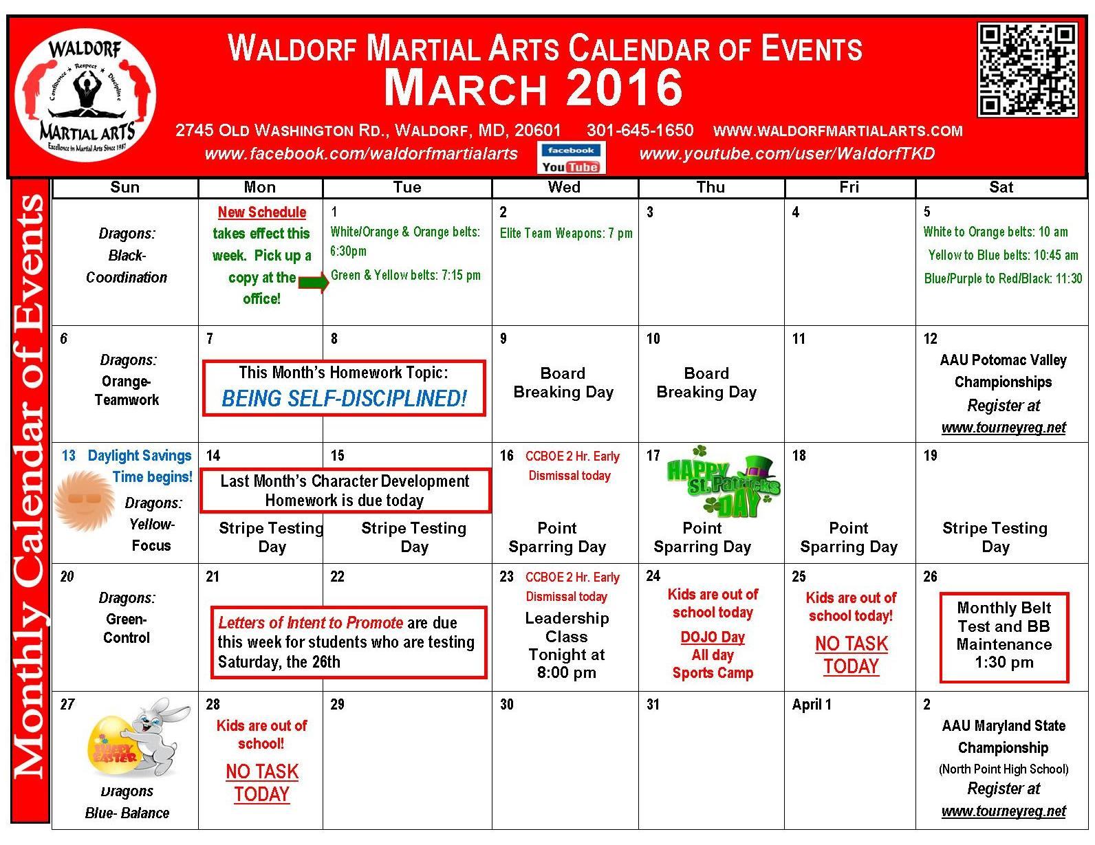 March 2016 calendar of events