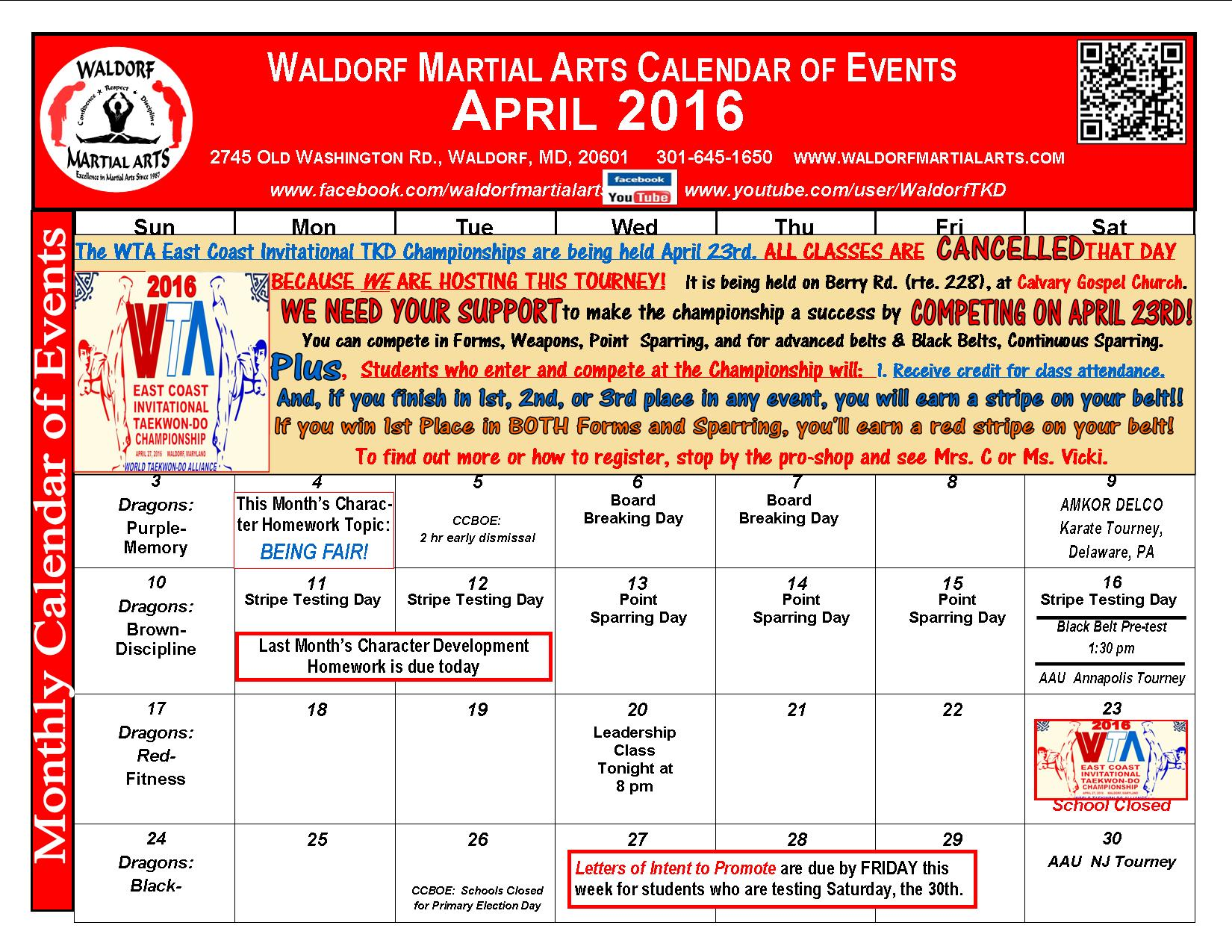April 2016 Calendar of Events