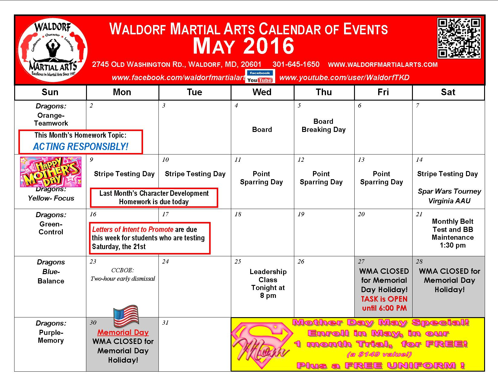 May Calendar Of Events : Wma monthly calendar of events waldorf martial arts