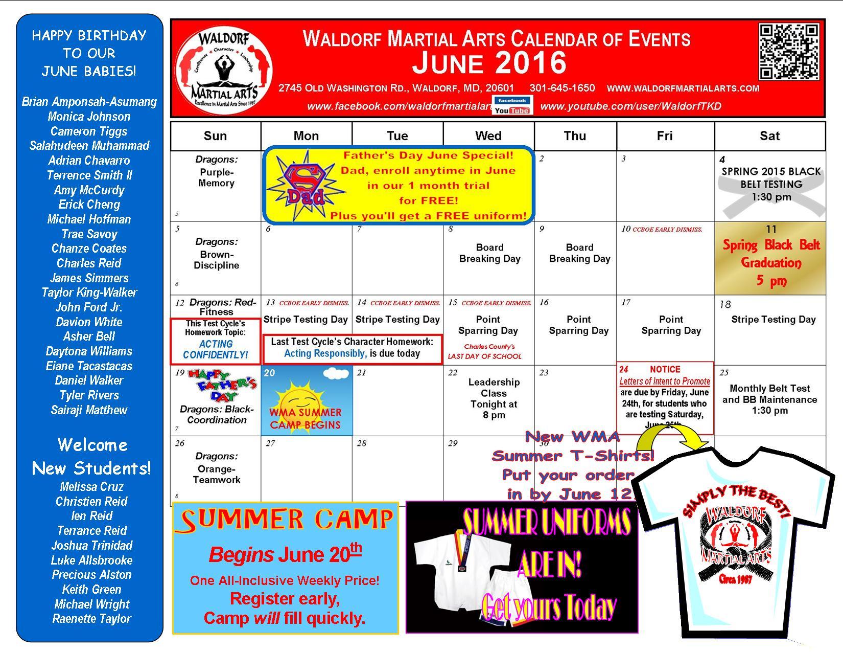 June 2016 calendar-news