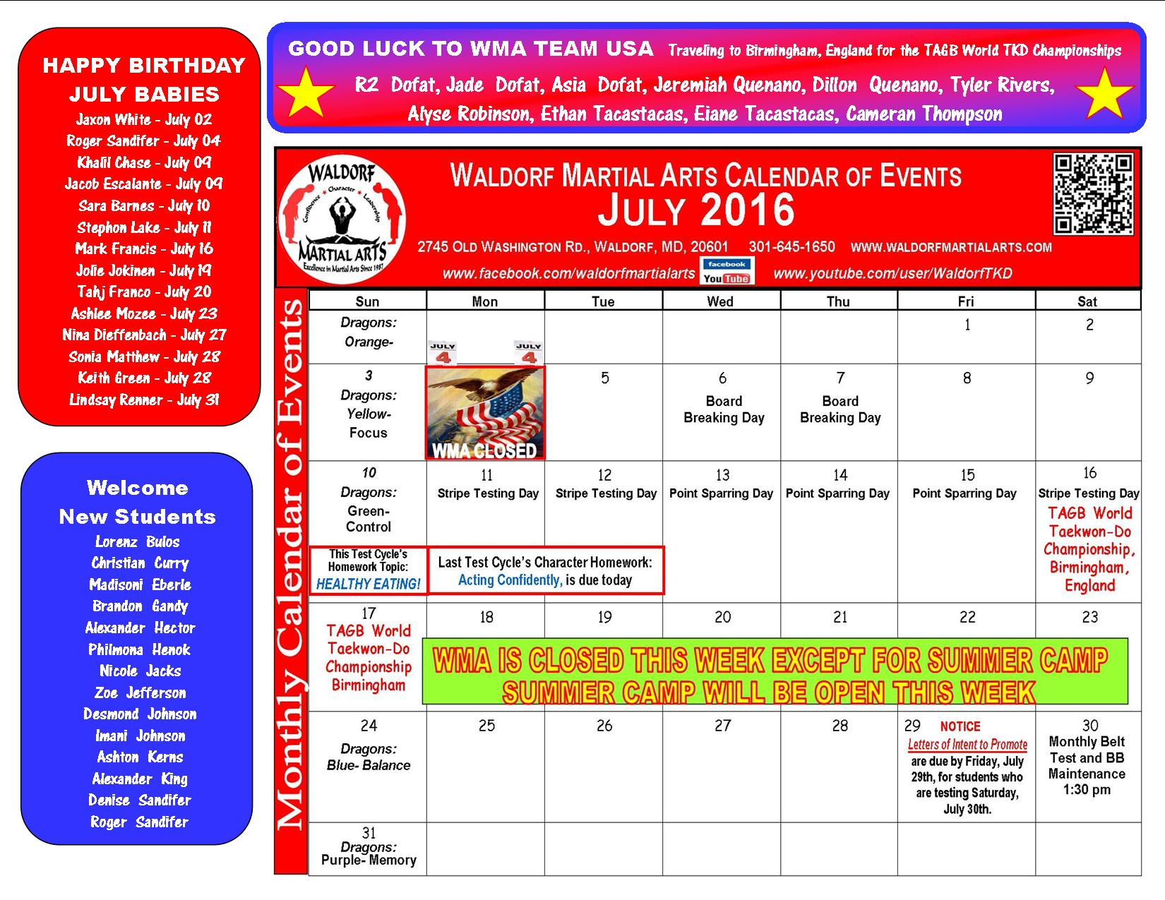 July 2016 Calendar of events and news