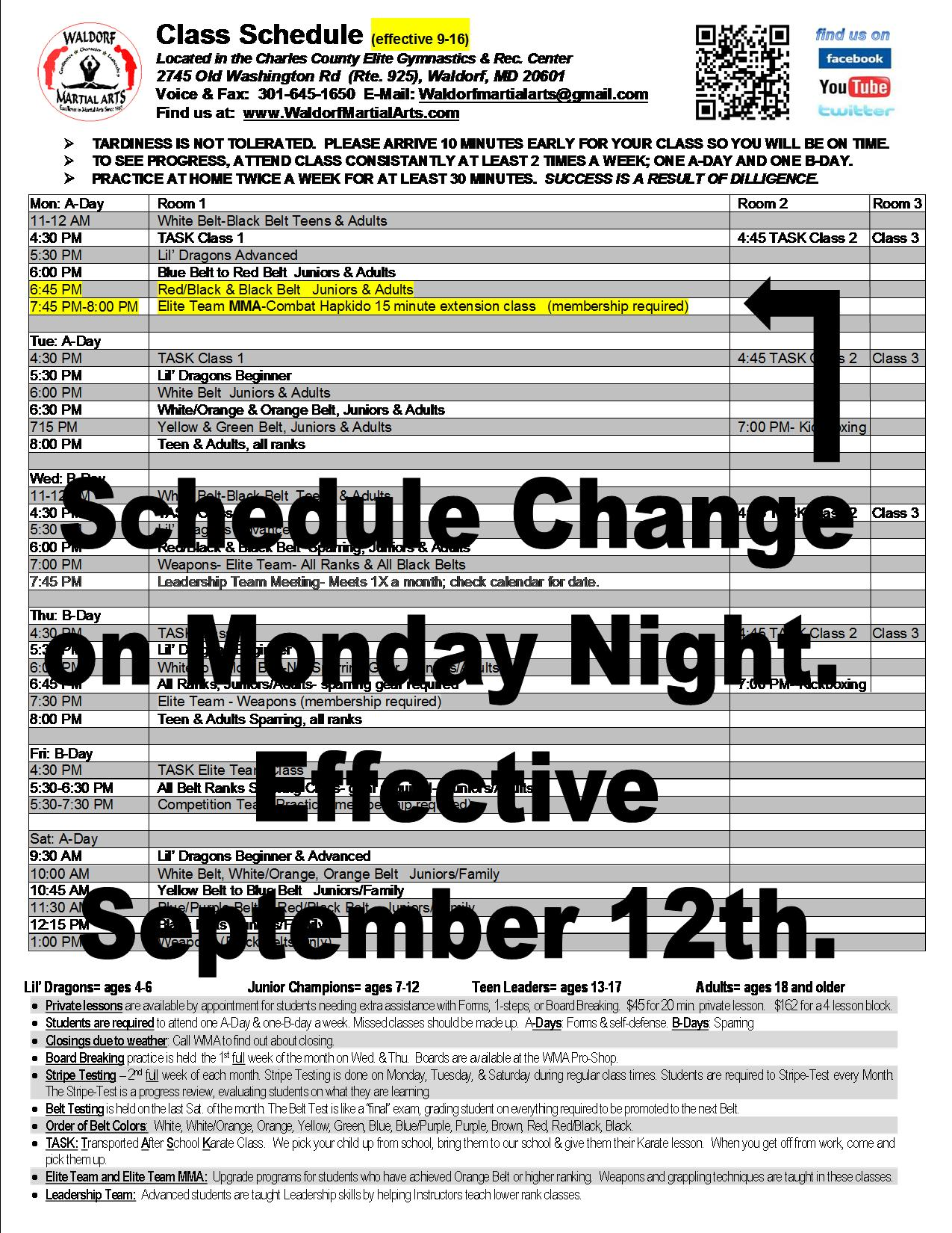 2016 Class Schedule Effective Sept 12 FLYER NOTICE